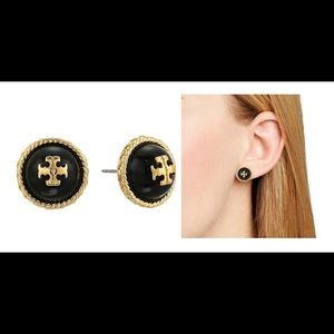 Tory Burch Jewelry - NWT TORY BURCH NAVY/GOLD ROPE LOGO STUD EARRINGS!